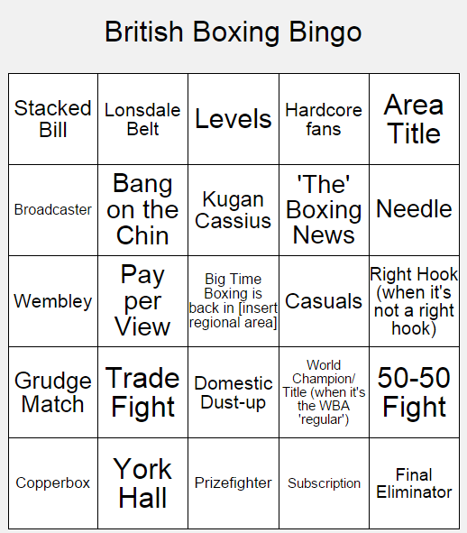 British Boxing Bingo